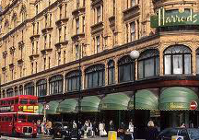 harrods with red london bus